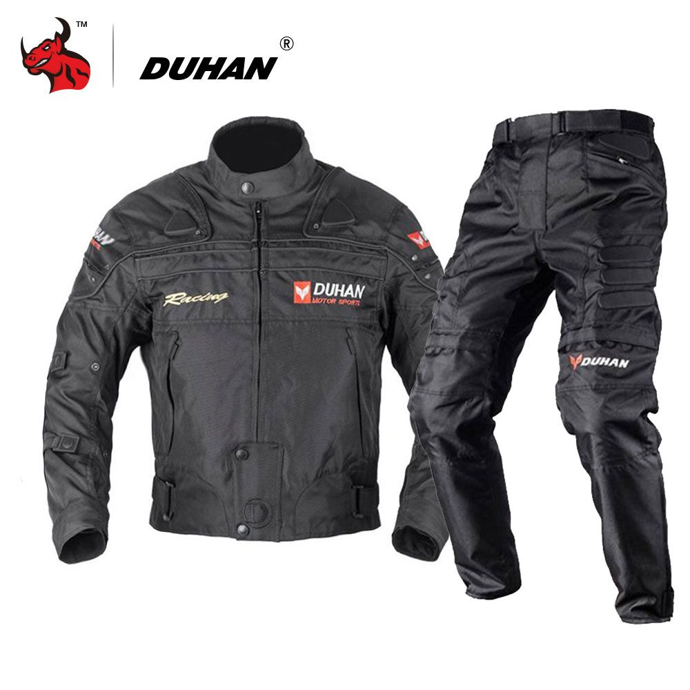 DUHAN Blouson Moto Men's Motorcycle Motocross Off-Road Racing Jacket Body Armor+ Riding Pants Clothing Set Black Blue Red