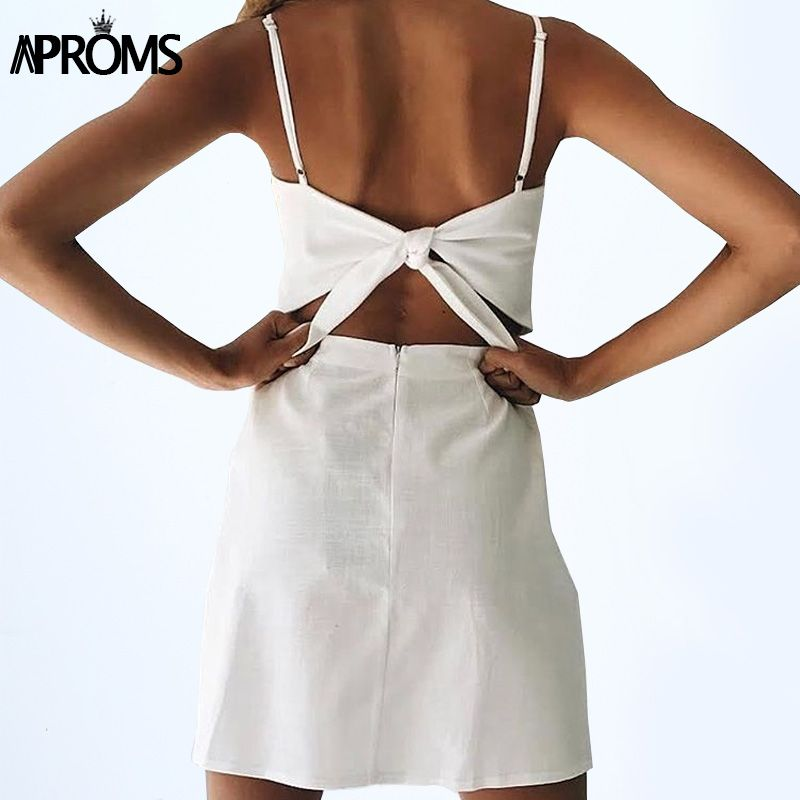Aproms Back Tie Up Bow Summer Dress Women Sundresses Elegant Linen Dress Slim Fit Bodycon White Black Short Dress Vestidos