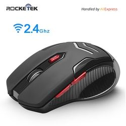 Rocketek USB Nirkabel Gaming Mouse 1600 DPI 6 Tombol Optik Ergonomis untuk Overwatch Permainan Laptop Mouse Komputer