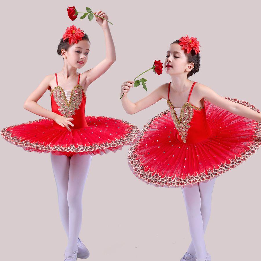 Professional Ballet Tutu Child Swan Lake Costume White Red Blue Ballet Dress for Children Pancake Tutu Girls Dancewear