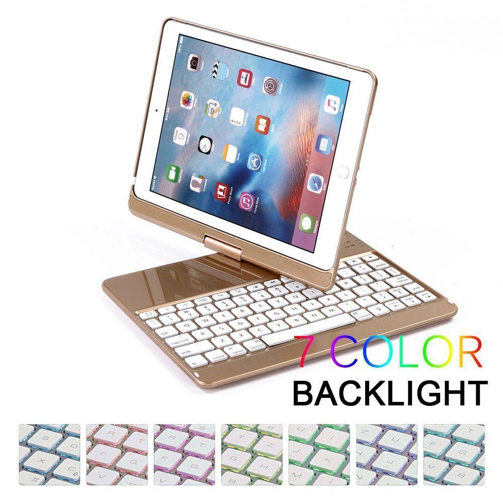 Drahtlose Bluetooth Tastatur Fall Abdeckung für iPad 9,7 Neue 2017 A1822 ABS Kunststoff 7 Farben Hintergrundbeleuchtung Tastatur für iPad pro 9,7