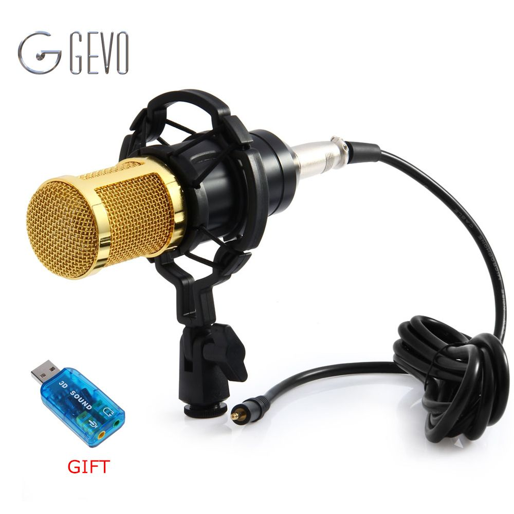 GEVO BM 800 Computer Microphone 3.5mm Wired Condenser Sound Microphone With Shock <font><b>Mount</b></font> For Recording Braodcasting BM-800
