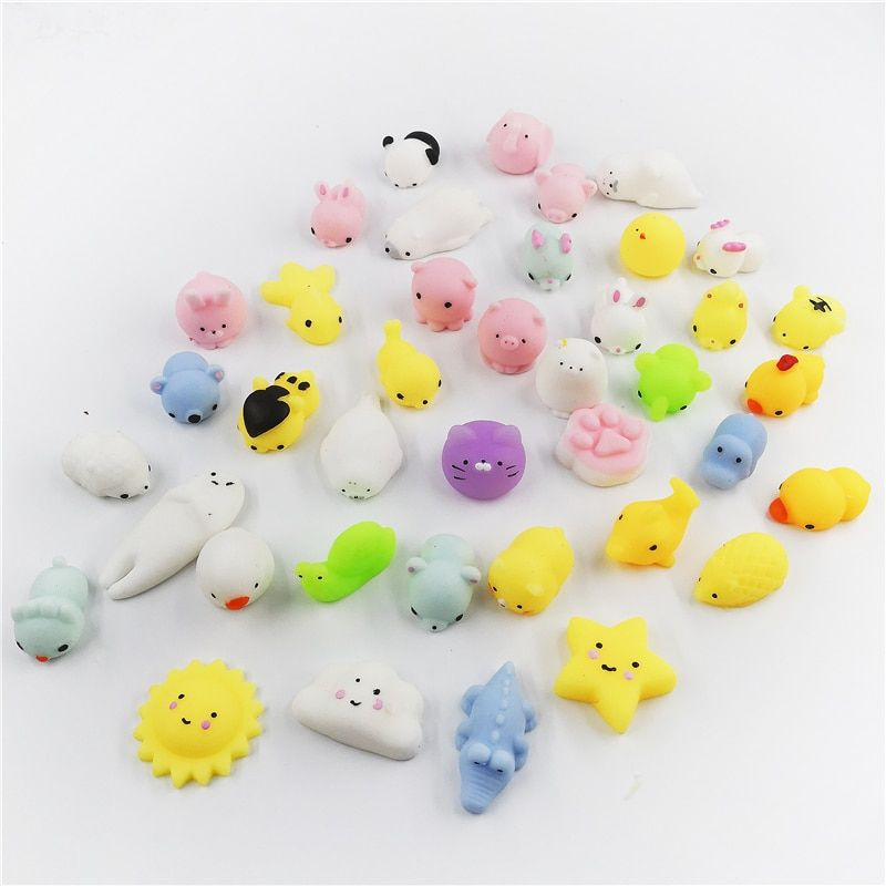 10/20/30/40pcs Squishy Toys Mini Animals Seals Decompress Hand Squeeze Clever Soft Hand Pinch Phone Strap Kid Gifts Toys