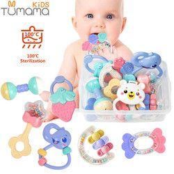 Bayi Mainan Kerincingan Mainan 8 Pcs Teether Musik Berjabat Tangan Bed Bell Bayi Baru Lahir Hewan Plastik Mainan Hadiah Pendidikan Mainan Bayi 0 -12 Bulan