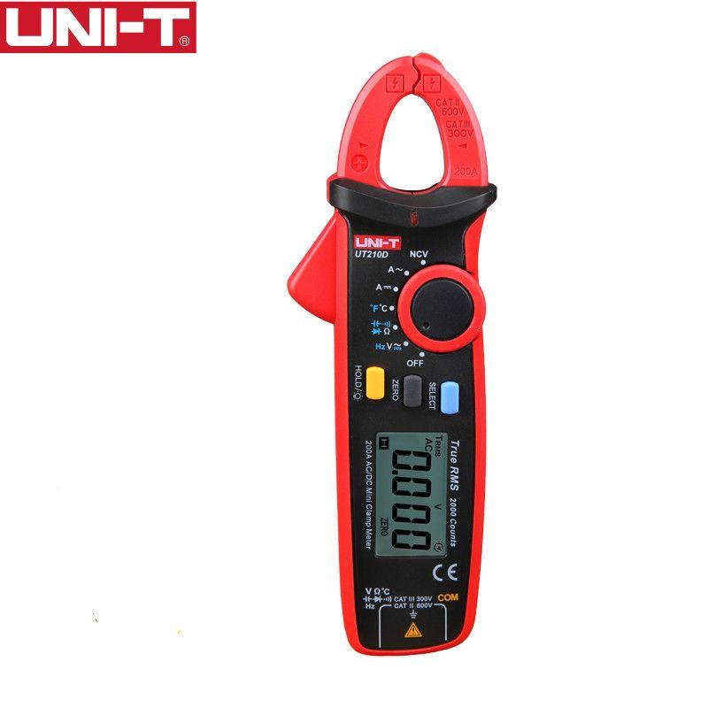 UNI-T UT210D Digital Clamp Meter True RMS Voltage Resistance Capacitance Multimeter Temperature Measure Auto Range Electrical