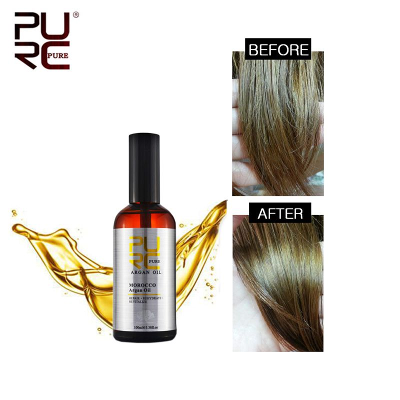 PURC Marocain Huile D'argan 100 ml pour Réparations Dommages Cheveux Hydratant Cheveux nourrissant pour après Kératine Traitement Cheveux Huile