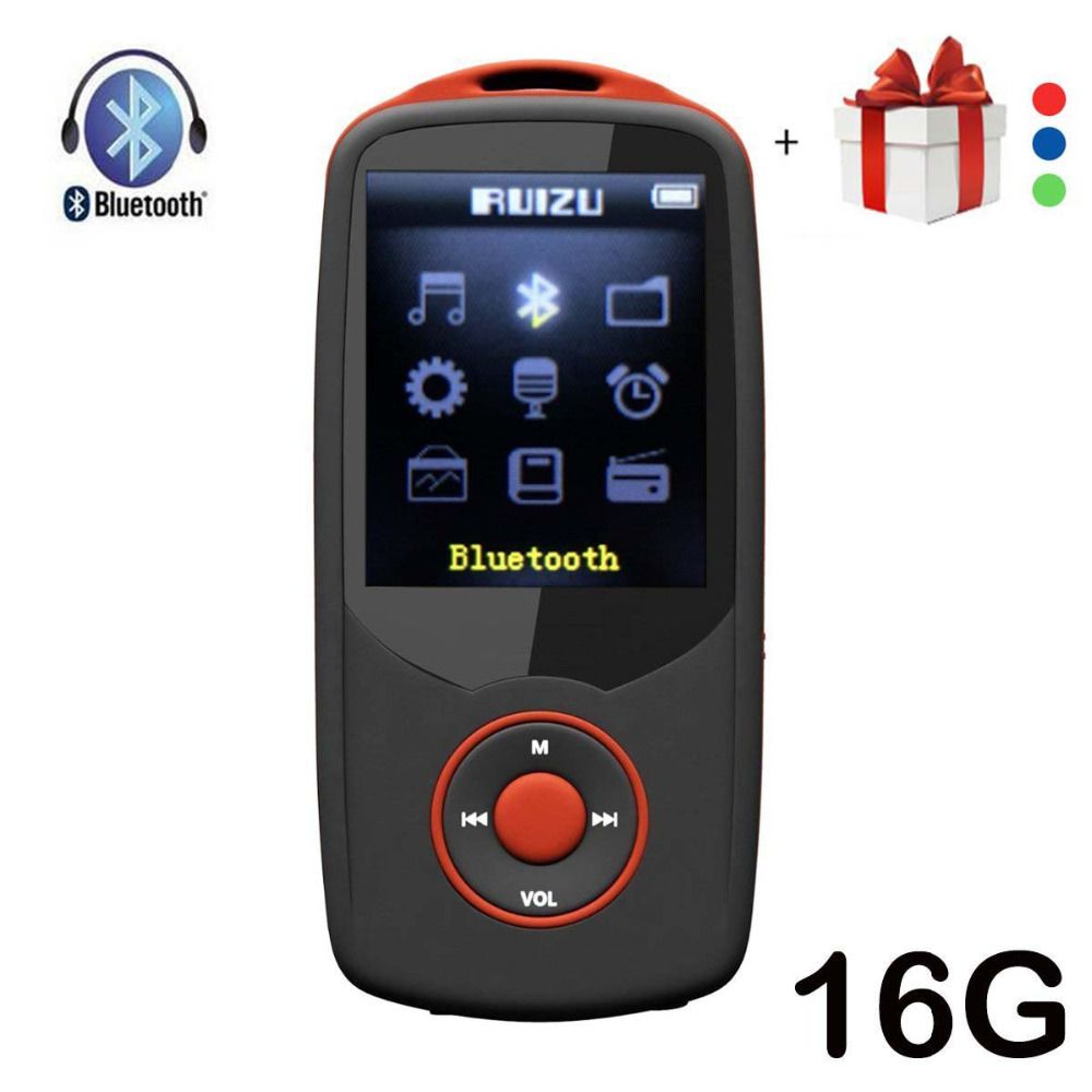 RUIZU X06 Bluetooth MP4 Player 16GB 100 Hours Lossless Sports MP4 music Player 1.8 Inch FM Ebook Video Record Free Lanyard