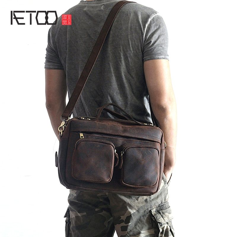 AETOO Explosion-proof leather men's bag horizontal style retro crazy horse leisure package multi-functional men's shoulder Messe