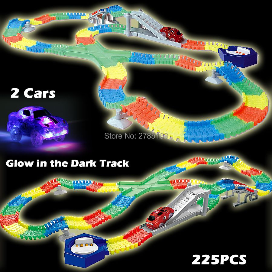 225PCS Slot Glow in the Dark Glow race track Create A Road Bend Flexible Tracks with 2PCS LED Light Up Cars Educational Toys