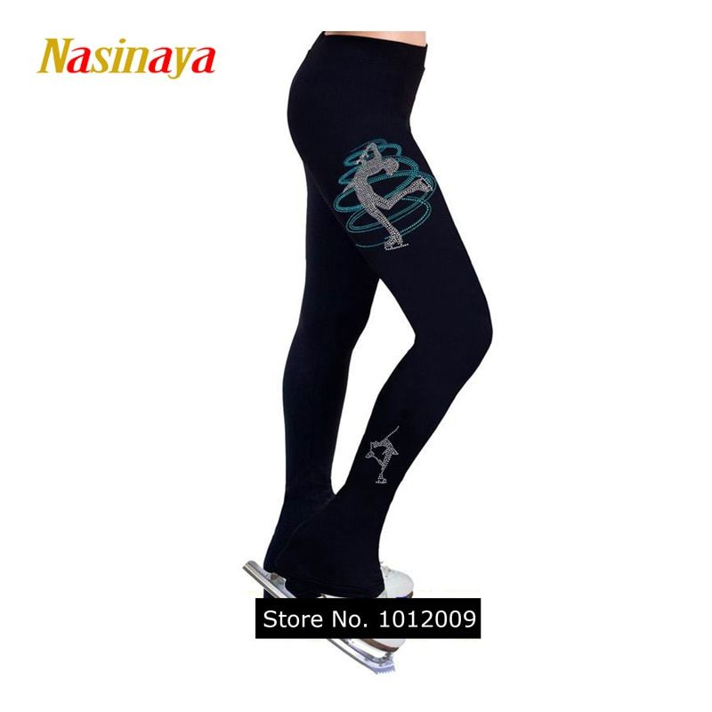 Customized Clothes Ice Skating Costume Figure Skating Pants Warm Fleece Trousers Adult Child Girl Turning Skater Rhinestone