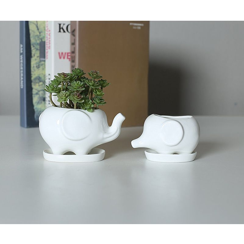Lot de 2 mignon Pot de fleur en céramique blanche éléphant avec plateau pour plantes succulentes Cactus Mini Pot planteur maison jardin décoration