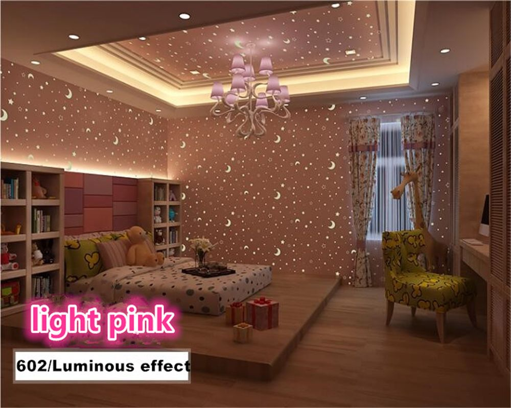 Beibehang Ambientalmente Nonwoven Wallpaper Luminoso Estrellas Luna Niño Cottage Dormitorio 3d Wallpaper papel de parede papier peint