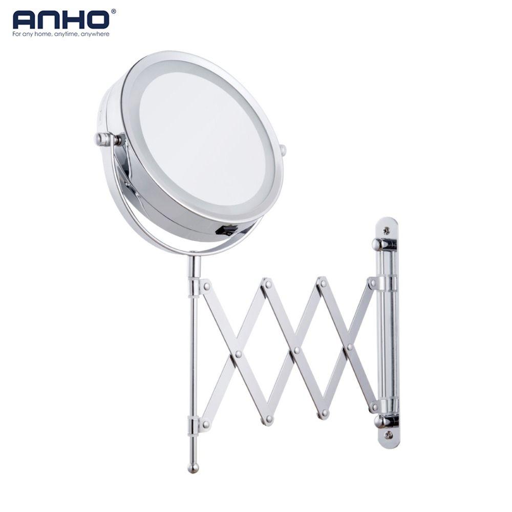 Makeup Mirror Bath Mirror Led Arm Magnification Wall Mounted Adjustable Cosmetic Mirror Dual Arm Extend 2-Face Bathroom Mirror