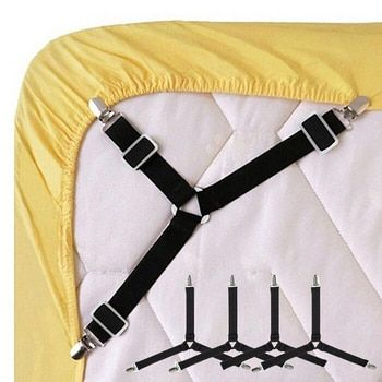 4 шт./1 шт. Черный/Белый Регулируемый треугольники крепеж для постельного белья для скатерти диван Чехлы мангала