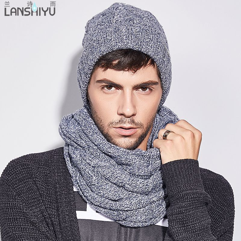 Scarf & Hat 2 Sets plaid winter warm with faux fur men cap adult Winter Warm Crochet knitted Hats and scarves 2017 new