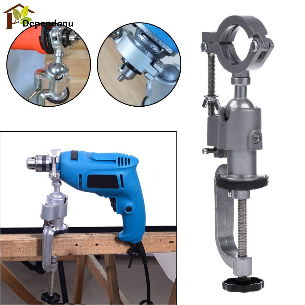 <font><b>Universal</b></font> Drill Holder Stand Clamp-on Bench 360 Rotating Mini Drill Stand Grinder Electric Tool for Woodworking