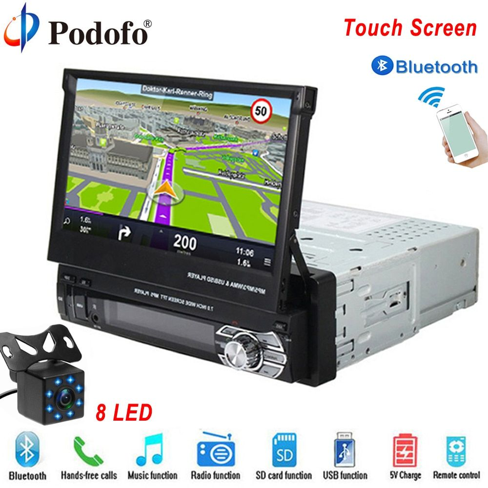 Podofo Autoradio Bluetooth GPS 12V Car Radio player 1 din 7