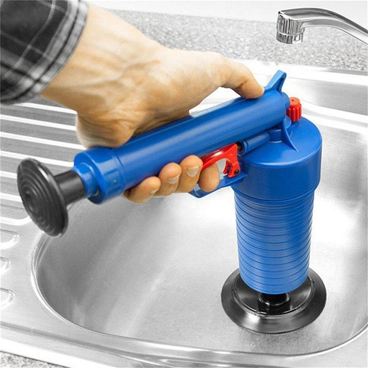 Air Pressure Drain Cleaner <font><b>Sewer</b></font> Cleaning Brush Kitchen Bathroom Toilet Dredge Plunger Basin Pipeline Clogged Remover Tool Set