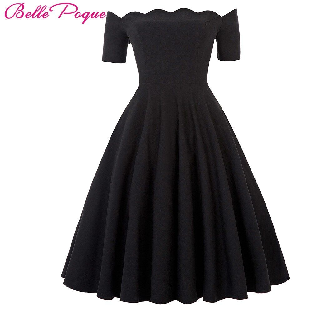 Belle Poque 2018 Women Dress Robe Vintage Off Shoulder Black Summer Dress Jurken 1950s 60s Retro Rockabilly Swing Party Dresses