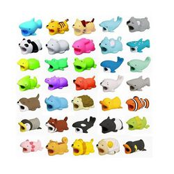 Lucu Pelindung Kabel Gigitan untuk iPhone Kabel Winder Pemegang Telepon Aksesori Kabel Anjing Makhluk Penggigit Itu Kelinci Kucing Boneka Mainan Licin