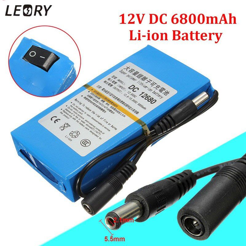LEORY 12V DC 6800mAh Lithium Rechargeable Battery Li-ion Super Electrical Batteries Pack For Wireless Transmitter CCTV Camera