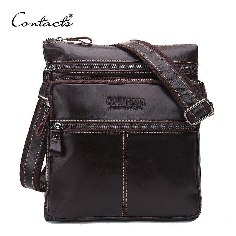 CONTACT'S Fashion Genuine Leather Brand Design Men Messenger Bag Cowhide High Quality Shoulder Bags <font><b>Travel</b></font> Men's Cross Body Bag