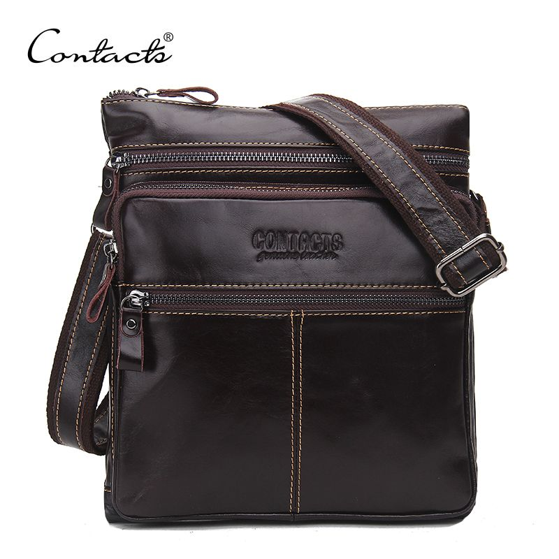 CONTACT'S Fashion Genuine Leather Brand Design Men Messenger Bag Cowhide High Quality Shoulder Bags Travel Men's Cross Body Bag