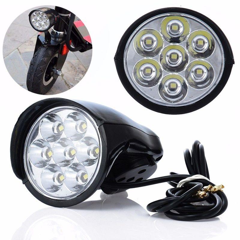 7LED 18 W vélo lumière Scooter électrique lampe phare éclairage 100lm avec klaxon # D #
