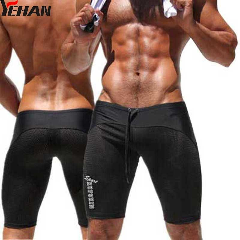 Sexy Mesh Running Tights Men Brand Gym Clothing Spandex Sport wear Black Breathable Gym  Low Rise training Shorts