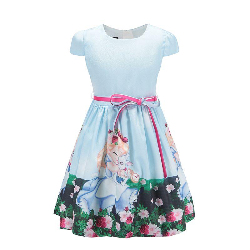 2018 Bébé Filles Robe pour la Fête Princesse Blanche-Neige Filles D'été Vêtements style Décontracté Enfants Robes pour Les Filles de 8 Ans bleu