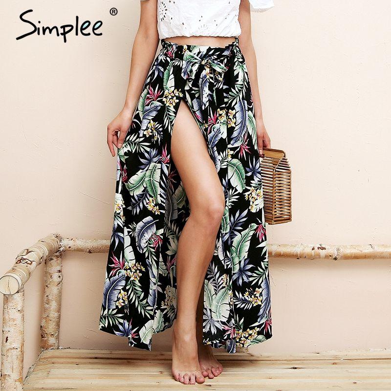 Simplee High split print long skirt women Summer <font><b>style</b></font> sash floral maxi skirt female 2018 Streetwear casual beach boho skirt