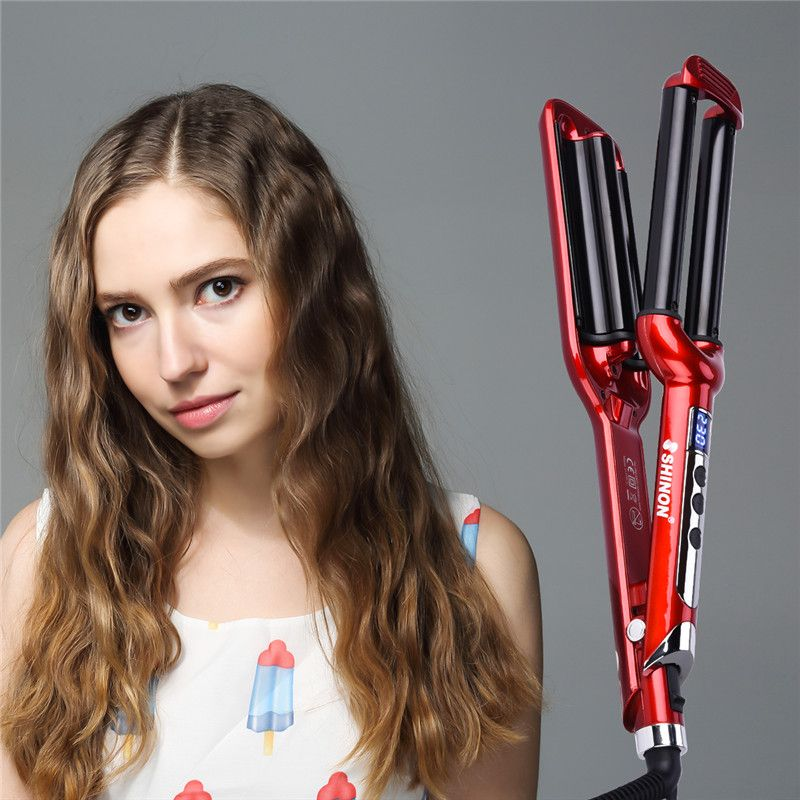 On sale 60W LCD Control Three Chicken Rollers Ceramic Triple Barrels Curling Iron Deep Wave Curler Hair Waver 14 files Red S50