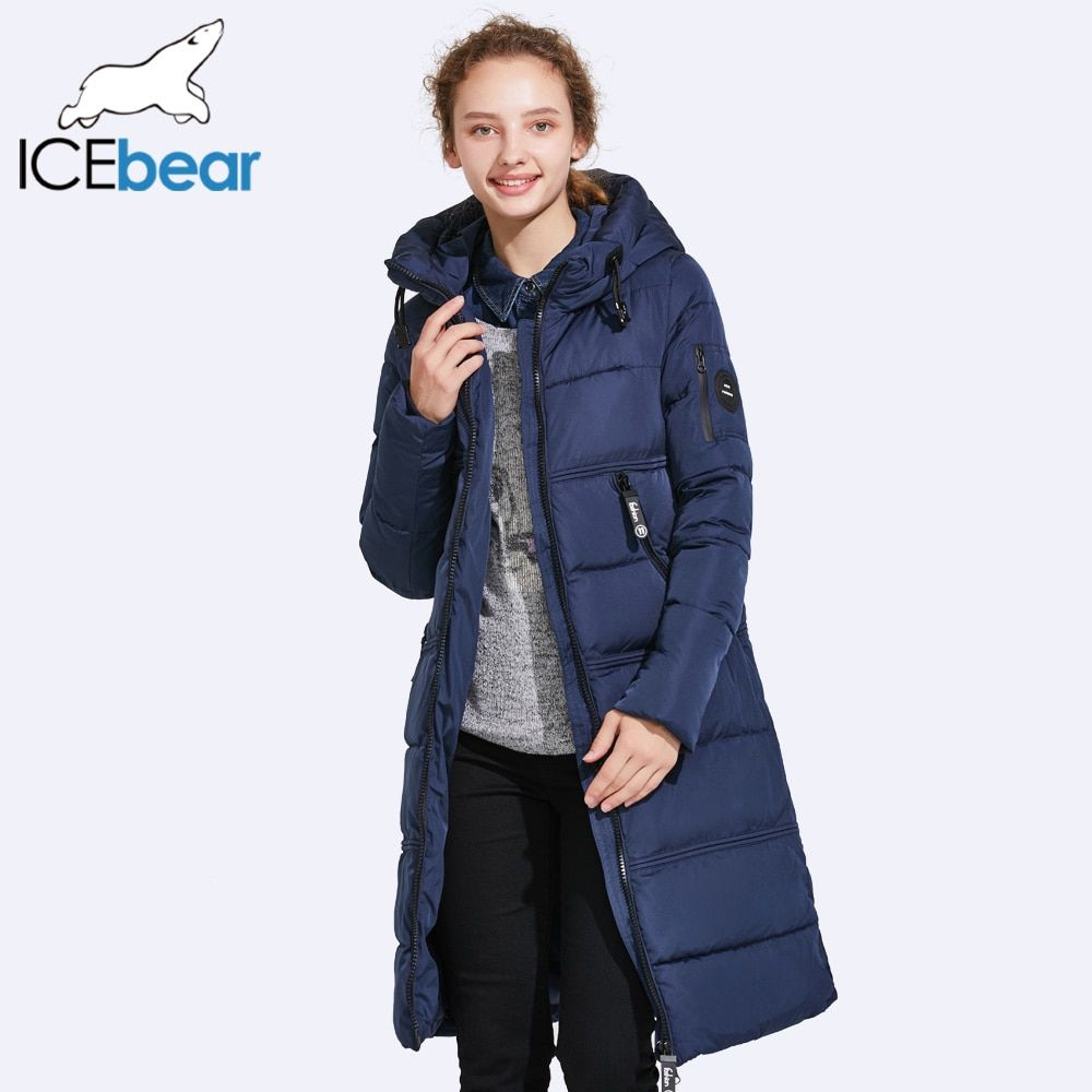 ICEbear 2017 Women Quilted Parkas Women Bilateral Pocket Thick Hooded Windproof Warm Knitted Windproof Cuffs 17G666D