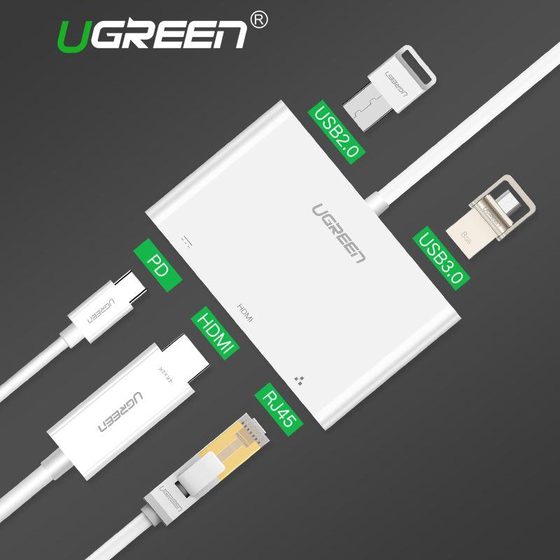 Ugreen USB C HUB Typ C zu HUB HDMI VGA RJ45 Adapter mit USB-C PD Port Splitter für MacBook Pro Huawei Taube 10 USB 3.0 HUB
