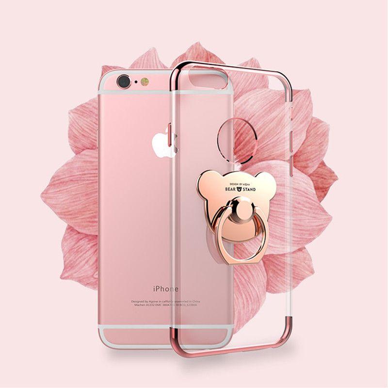 Für iPhone 6 6 s 7 Plus überzug Weichen ultradünne Schmal geschnittene telefonkasten bär ring halter stehen Für Apple iPhone7 Fällen zeigen Logo