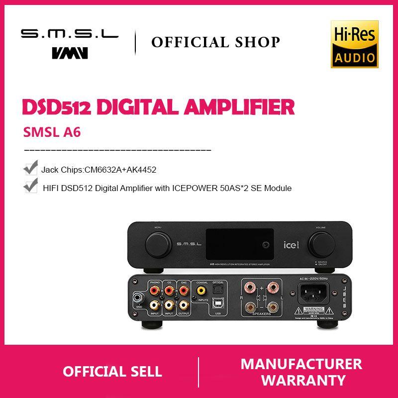 SMSL A6 HIFI Digital Verstärker 50Wx2 DAC Digital 110 V/220 V Native DSD512 USB/Optische/Koaxial /LP-Player/CD Analog Eingang