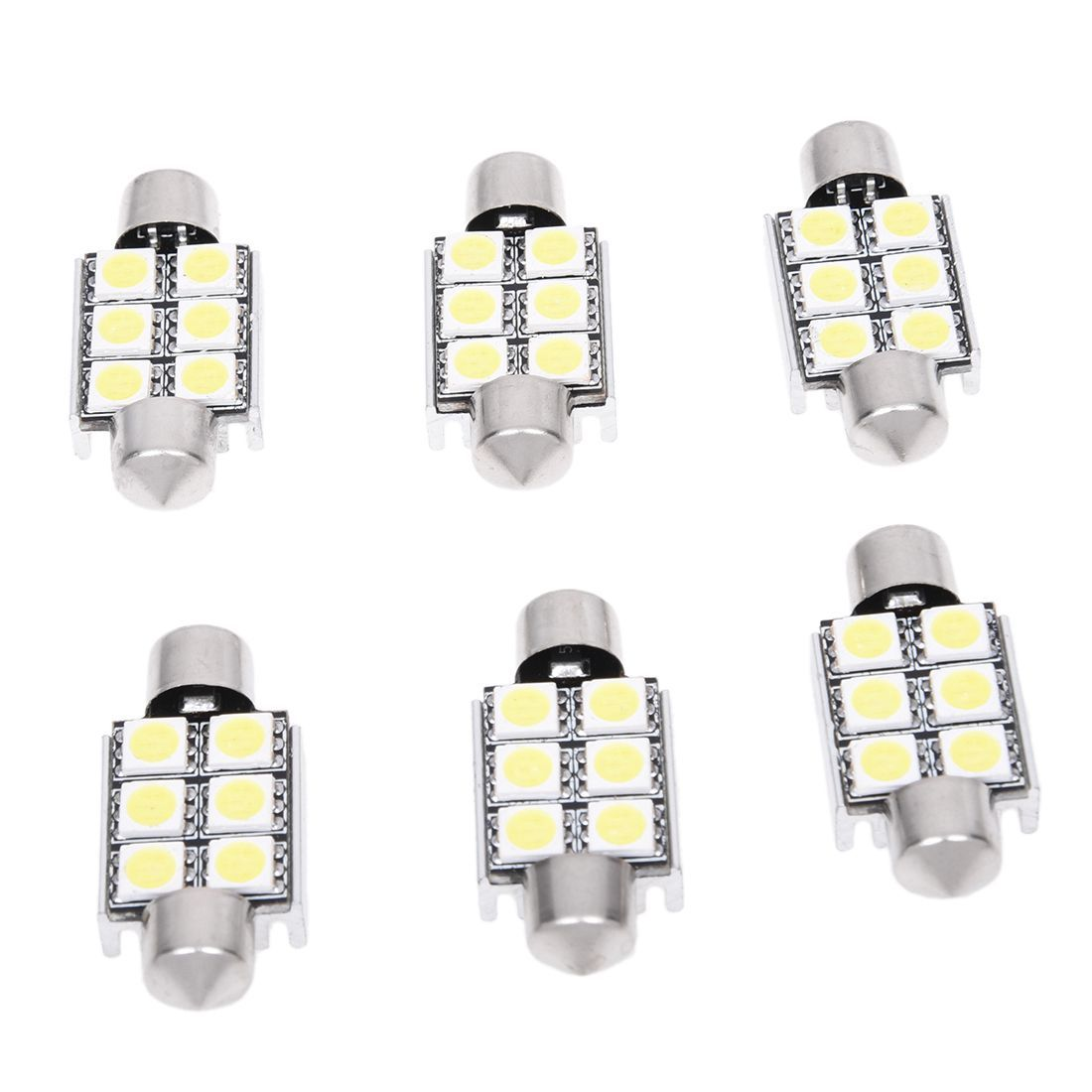 Promotion! 6x 36MM Can bus 6SMD 5050 LED License Plate Festoon Dome Bulb Light White