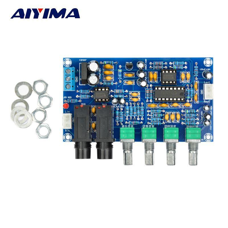 AIYIMA PT2399 carte amplificateur de Microphone numérique carte de réverbération karaoké Module amplificateur OK double AC12V