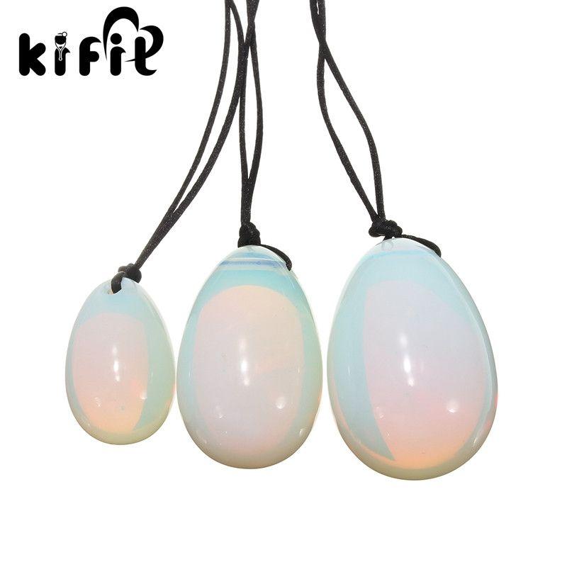 KIFIT 3 pièces/ensemble blanc Opalite Yoni oeufs oeuf de Jade avec cordons boule de Massage de pierres précieuses pour l'exercice outil de soin musculaire Vaginal pelvien