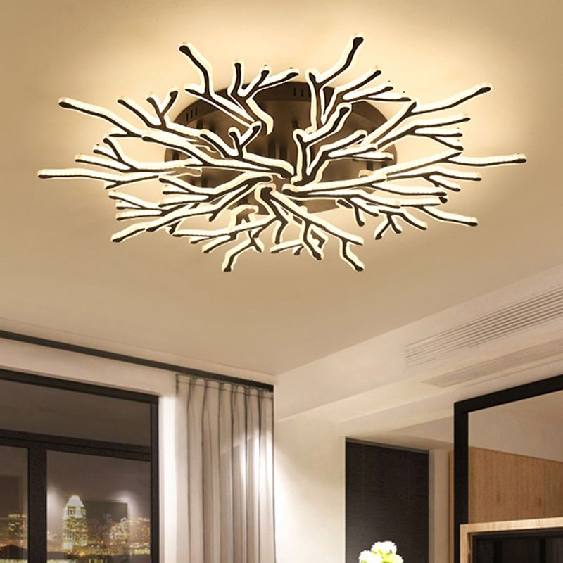 Modern Black Finished LED Chandeliers lamparas de techo plafonnier led luminaria For Living Room Indoor Lighting