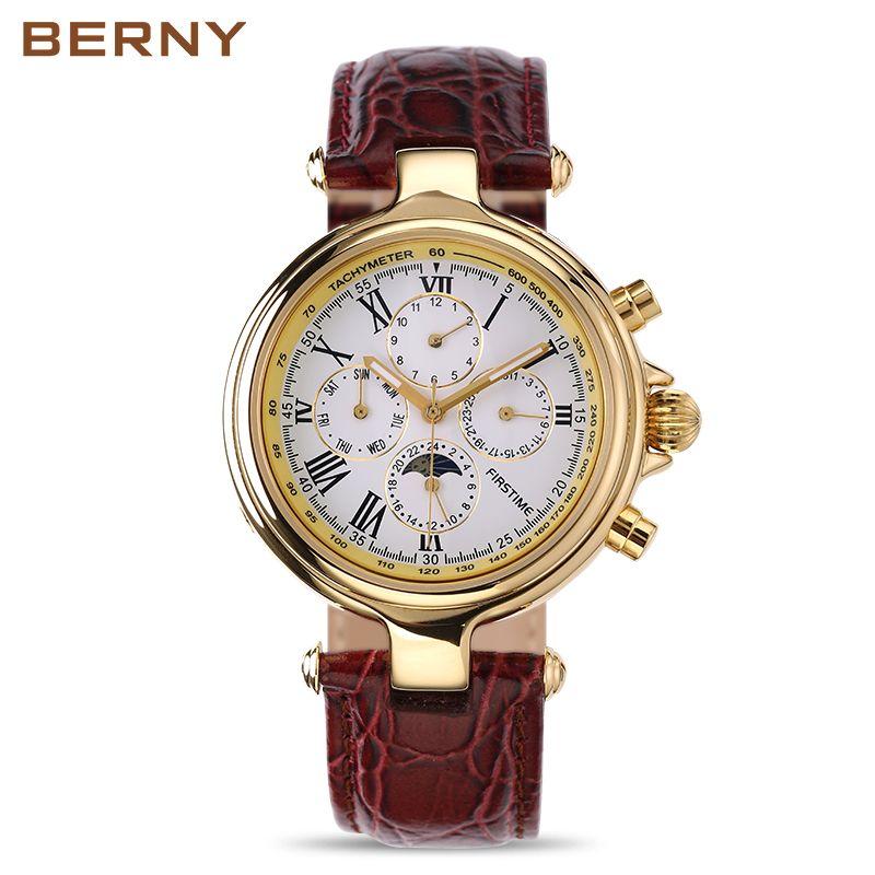 Marque célèbre tout en acier inoxydable montre de luxe hommes montre automatique mâle montres mécaniques Phase de lune montres mécaniques AM7042M