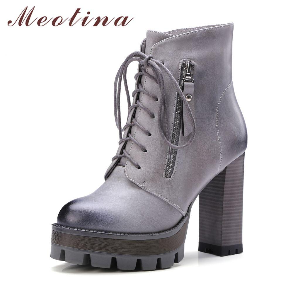 Meotina/женские сапоги ботильоны на высоком каблуке Зимние Готический Мотоциклетные сапоги на платформе Кружево на шнуровке женская обувь на ...