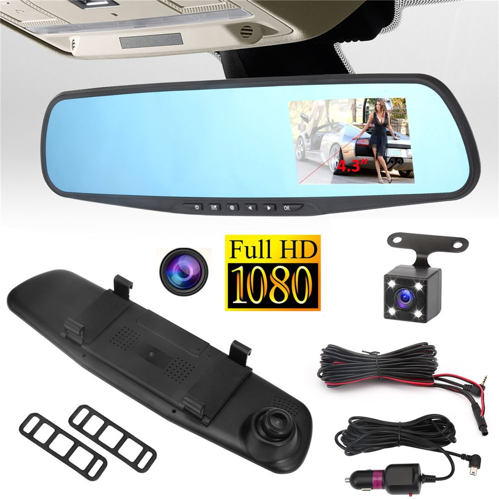 Car DVR Camera Rearview Mirror Auto Dvr Dual Lens Dash Cam Recorder Video Registrator Camcorder Full HD 1080p G sensor DVRs 12v