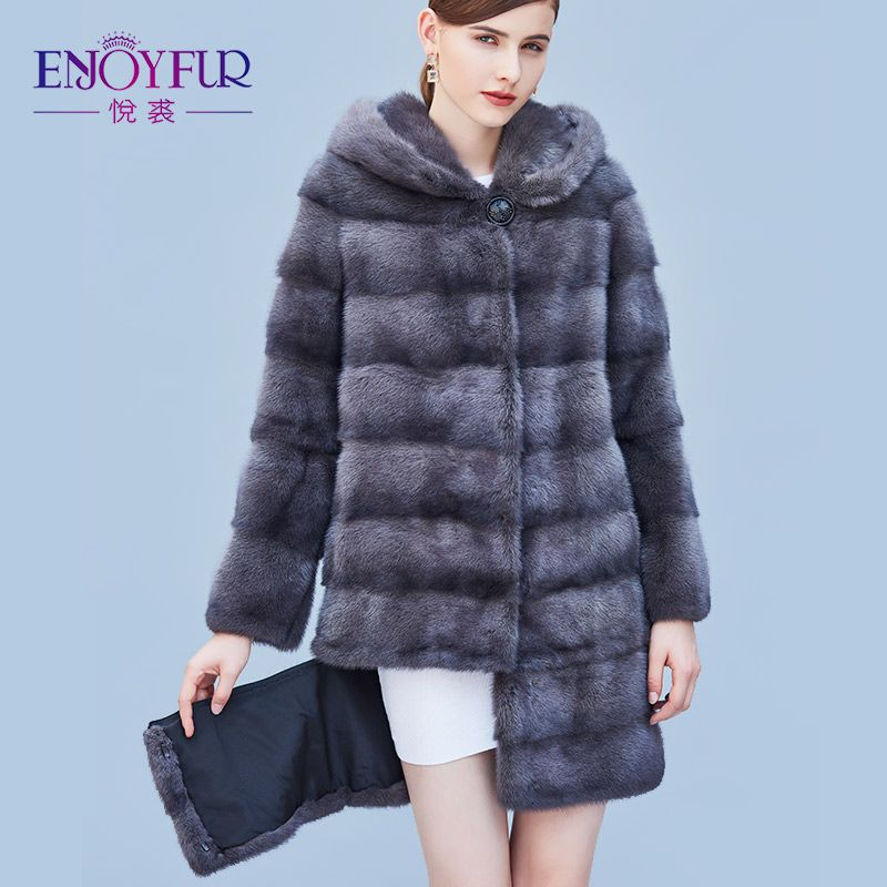 ENJOYFUR Women's Genuine Mink Fur Coats Real Fur Coat With Hood For Winter High-grade Mink Fur Coat With Detachable Sleeves