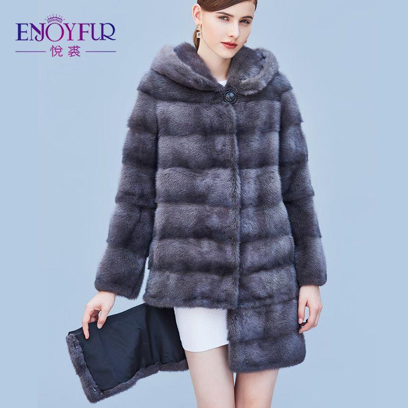 ENJOYFUR Women's Genuine Mink Fur Coats Real Fur Coat With Hood For Winter High-grade Mink Fur Coat With Detachable Sleeves