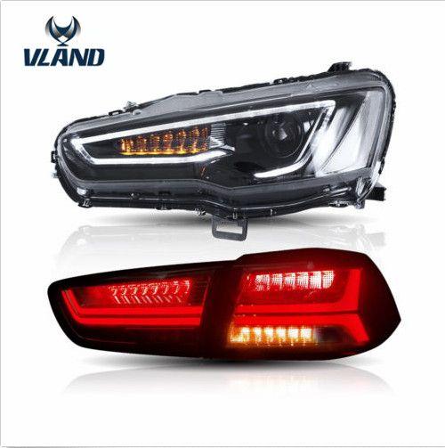 VLAND hersteller für Auto kopf lampe für Lancer LED Scheinwerfer 2008-2015 für Lancer Schwanz licht mit sequentielle drehen signal