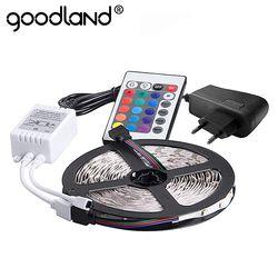 Goodland RGB LED Bande Lumière 2835 SMD 5 M 300 Led Flexible lumière Bande Télécommande IR 12 V 2A Puissance Adaptateur LED ruban