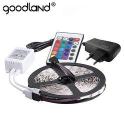 Goodland RGB LED Strip Light 2835 SMD 5M 300LEDs Flexible Light Tape IR Remote Controller 12V 2A Power Adapter LED Ribbon