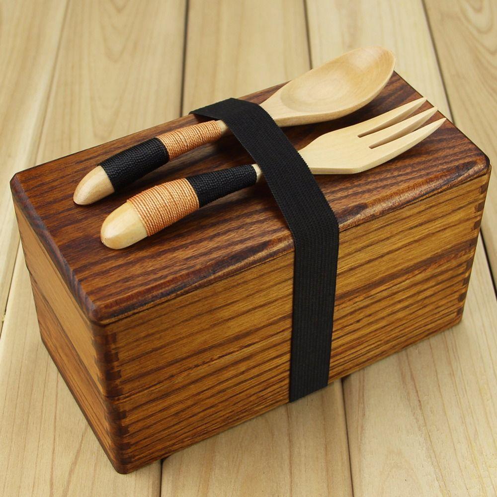 Boîte à nourriture en bois japonais traditionnel en bois naturel carré Double couche femmes hommes bois Bento boîte déjeuner pique-nique Sushi