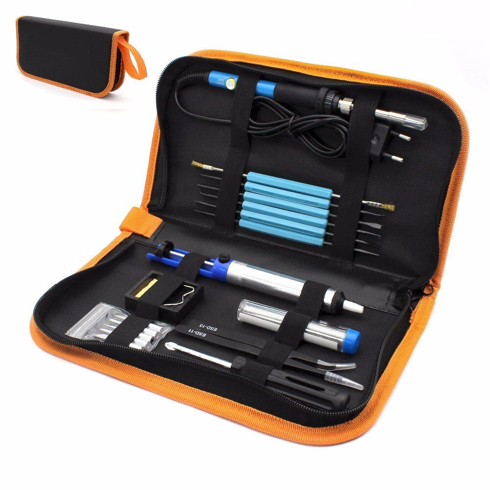 Eu Plug 220v 60w Adjustable Temperature Electric Soldering Iron Kit+5pcs Tips Portable Welding Repair <font><b>Tool</b></font> Tweezers Solder Wire